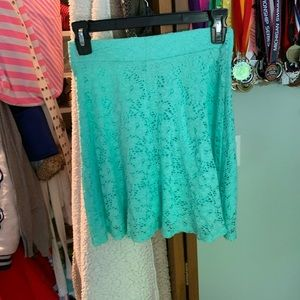 Teal lace skater skirt